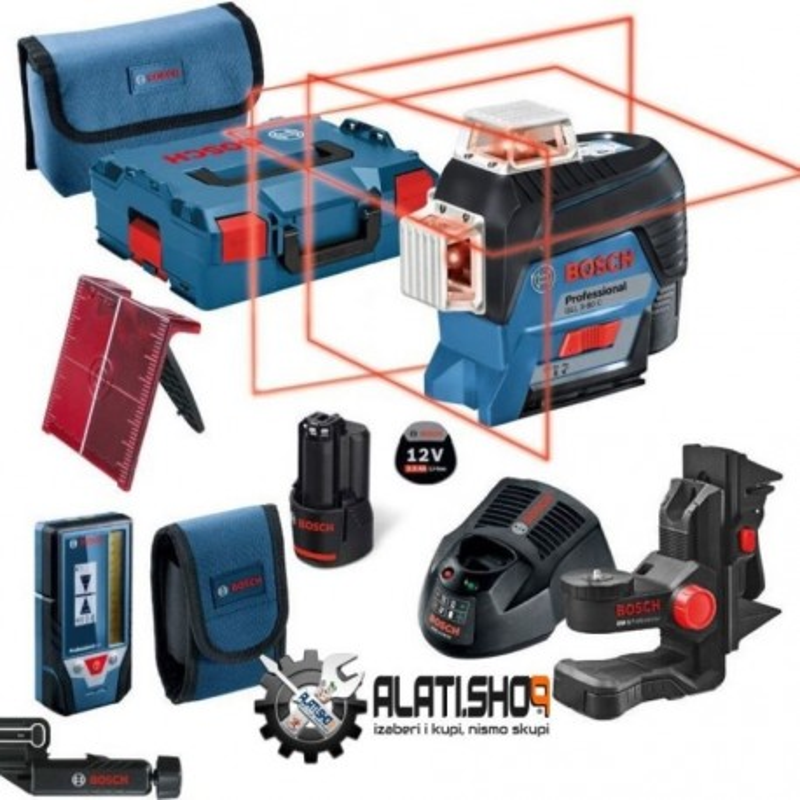 BOSCH laserski nivelir + prijemnik + držač GLL 3-80 P + LR 2 + BM 1 Professional