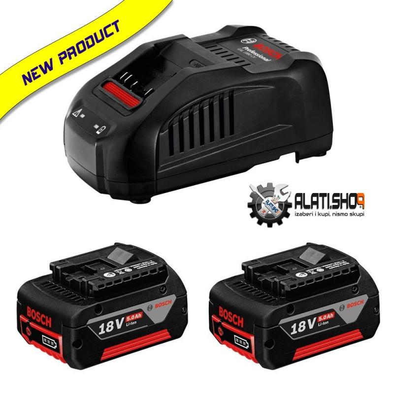 BOSCH 2x GBA 18 V/5.0 Ah Li-Ion akumulator i brzi punjač GAL 1880 CV Professional (1 600 A00 B8J)