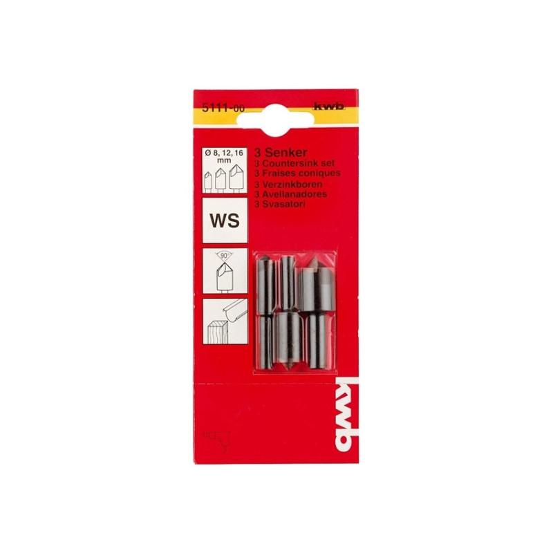 KWB set upuštača za drvo WS 8, 12 i 16 mm, 3 kom