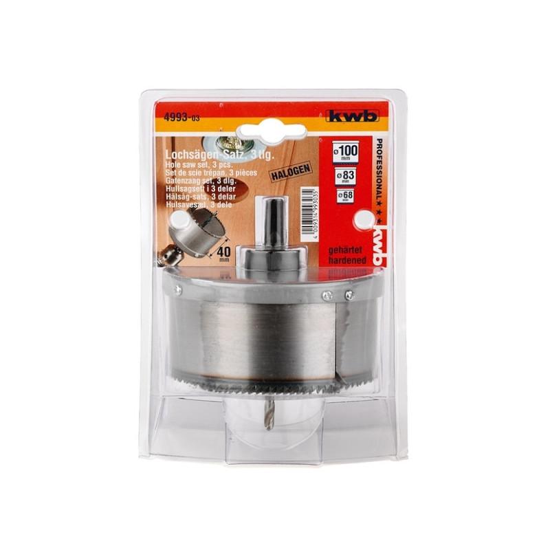 KWB set kružnih pila žaga testera za drvo 68, 83 i 100 mm, dubina 40 mm, 3 kom