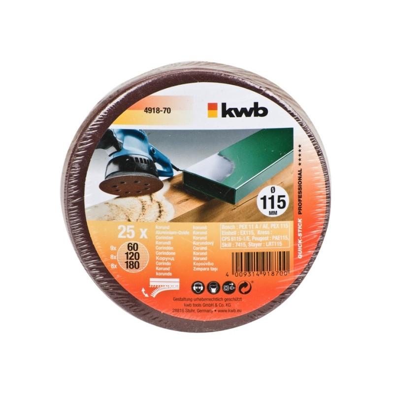 KWB SPARPACK samoljepivi brusni papir za drvo - metal, 115 mm, (1/25 kom)