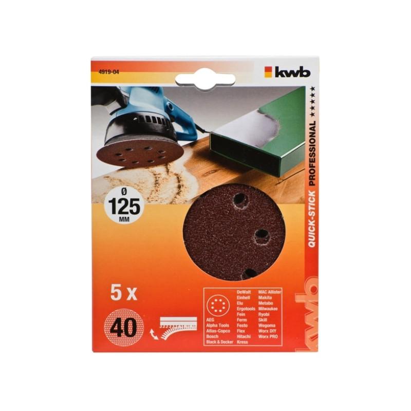 KWB  serija samoljepivog brusnog papira za drvo - metal, 125 mm
