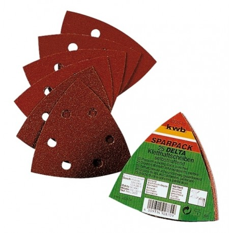 KWB SPARPACK samoljepivi brusni papir za drvo - metal, trokutni 96 mm,  (1/20 kom)