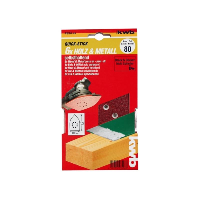 KWB serija samoljepivog brusnog papira za drvo - metal, trokutni za B-D