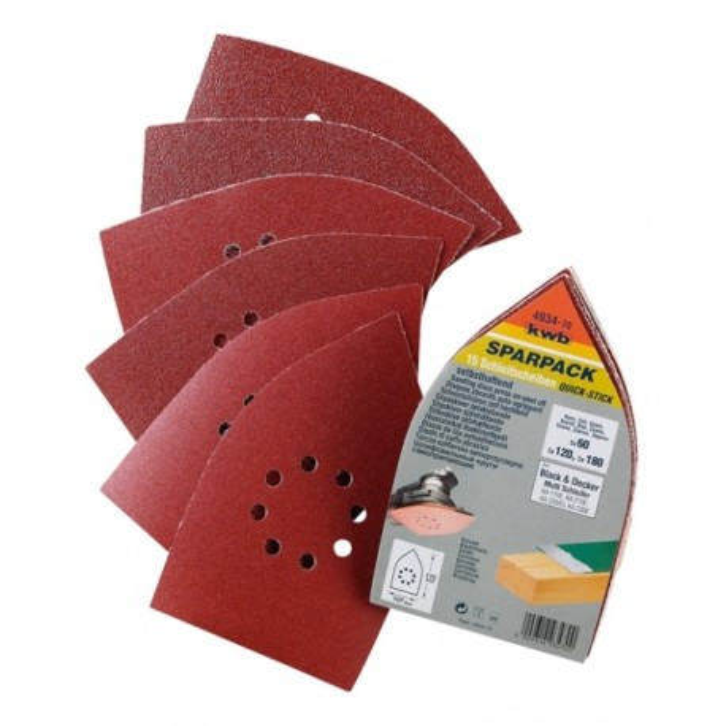KWB SPARPACK samoljepivi brusni papir za drvo - metal, trokutni za B-D, (1/12 kom)