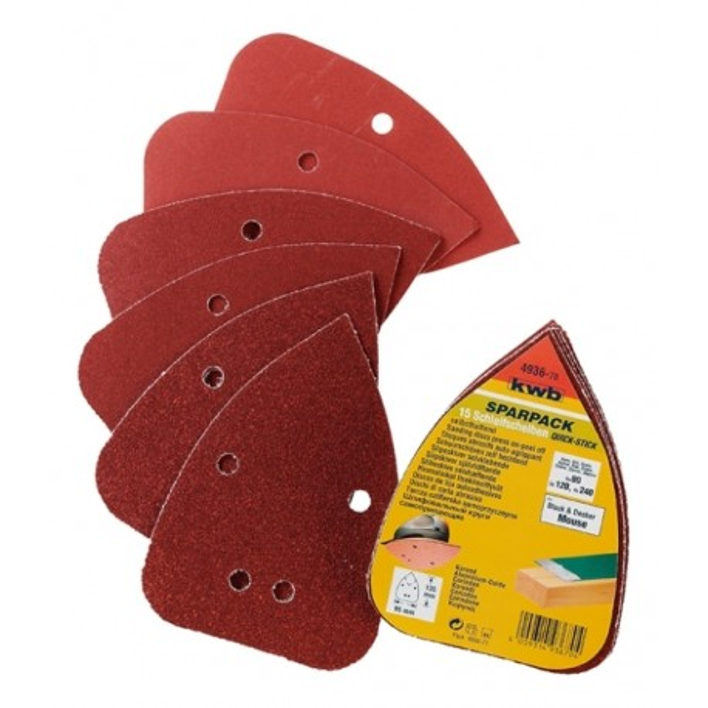 KWB SPARPACK samoljepivi brusni papir za drvo - metal, trokutni za B-D Mouse, (1/15 kom)