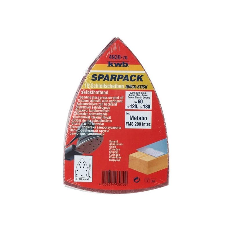 KWB SPARPACK samoljepivi brusni papir za drvo - metal, trokutni za METABO FMS, (1/15 kom) (493070)