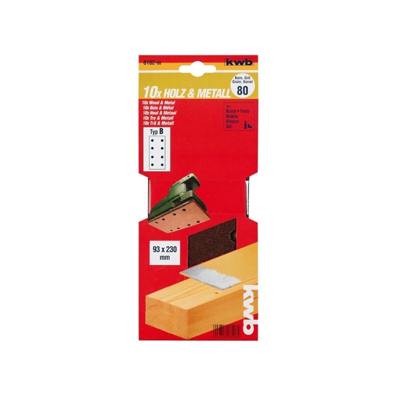 KWB serija brusnog papira za drvo - metal, 93 x 230 mm, tip B