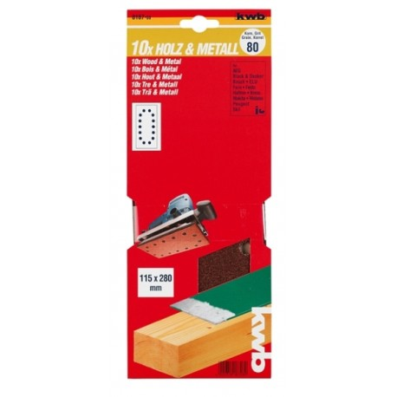 KWB serija brusnog papira za drvo - metal, 115 x 280 mm