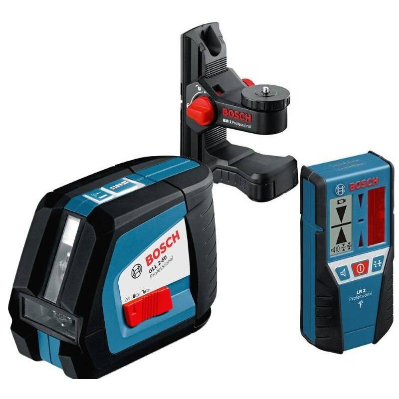 BOSCH laserski nivelir + prijemnik + pobiljšani držač GLL 2-50 + LR 2 + BM 1 Professional